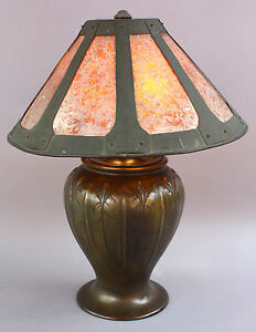 1910 Arts Crafts Bronze Table Lamp Light Mica Shade Antique