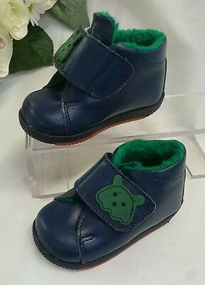 BABY Halbstiefel Kinder Schuhe Herbst MADE IN ITALY Gr. 21 Blau LEDER Bär