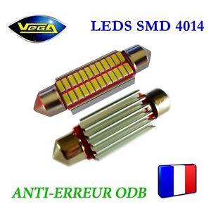 1 Ampoule navette C5W C10W 42 mm 24 leds 4014 SMD blanc xénon antierreur ODB 12V