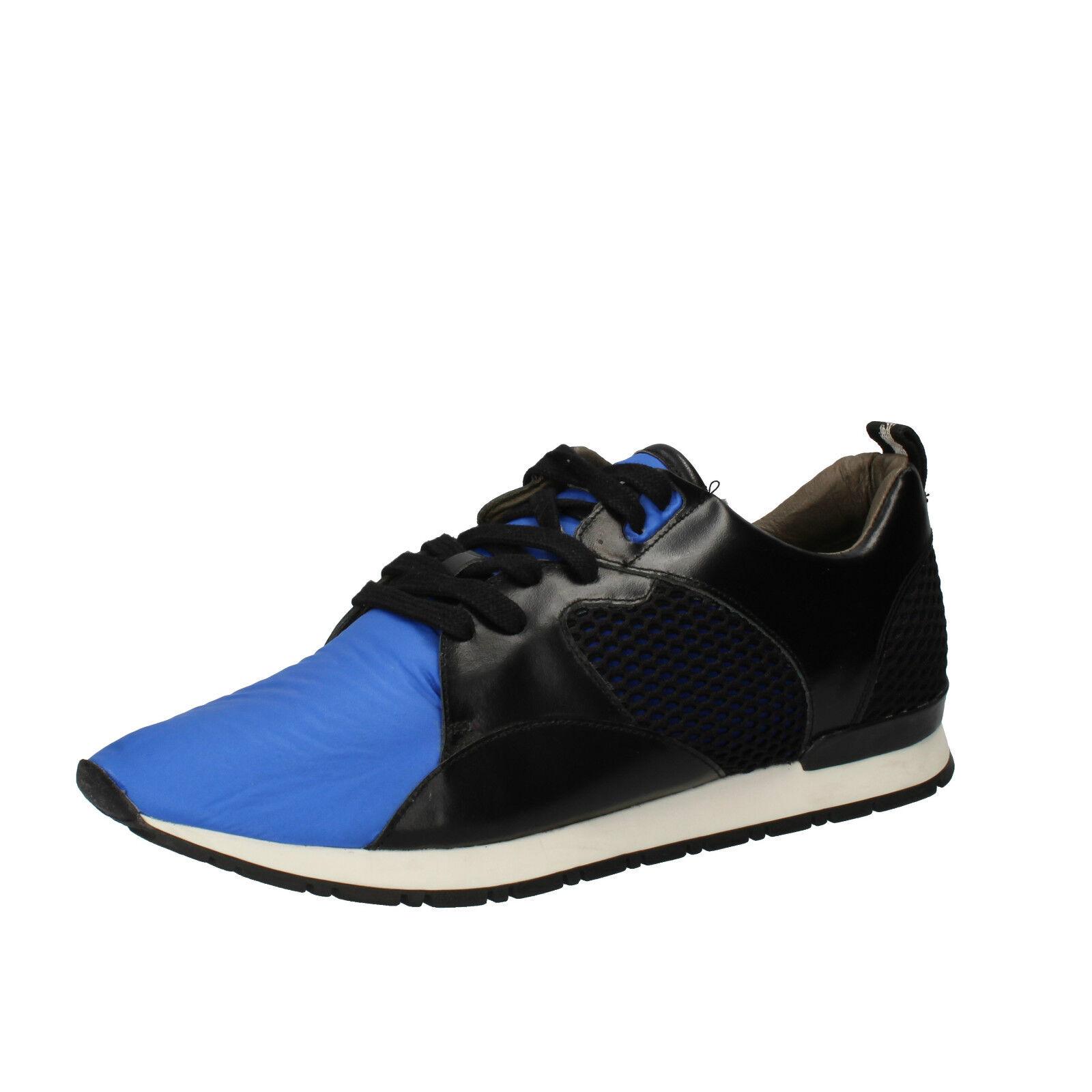 herren schuhe D.A.T.E. (date) 43 EU sneakers schwarz blau leder textil AE534-43