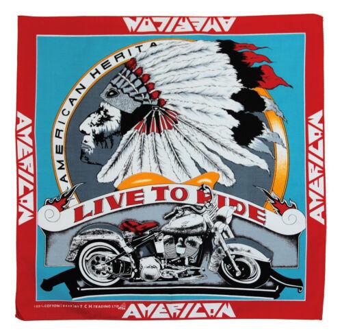 K124-ROSSO LIVE TO RIDE Biker testa di indiano Panno Bandana Copricapo MOTO