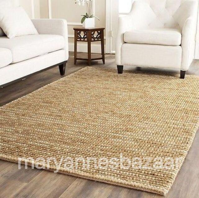 New Extra Large Floor Rug Carpet Natural Beige Modern Designer Hemp 270 X 180