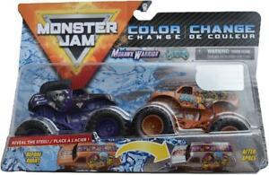 Hot-Wheels-Monster-Jam-Vagones-Color-Cambio-Mohicano-Y-Bufon