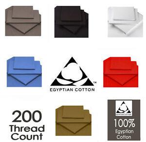 Luxe-100-Coton-Egyptien-Ajuste-Draps-Plats-de-tissage-de-200-Fils-Toutes-Tailles