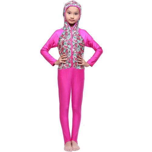 Kids Girl Islamic Muslim Swimwear Modest Burkini Two Piece Arab Swimming Costume
