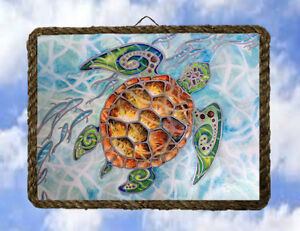 Tropical beach ocean 55 turtle sea wall decor art coastal for Vintage ocean decor