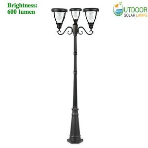 Details About Solar Modern Triple Lamp Post Light With 88 6in Pole