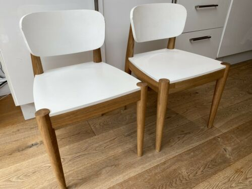 MADE SET OF 2 JOSEPH DINING CHAIRS, OAK AND WHITE