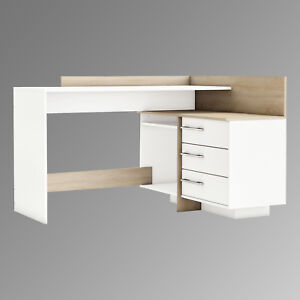 eckschreibtisch thales schreibtisch b rotisch computertisch sonoma eiche und wei ebay. Black Bedroom Furniture Sets. Home Design Ideas
