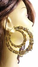 LARGE BAMBOO HOOP EARRINGS GOLD OR SILVER TONE DOUBLE HOOPS 3.5 INCH