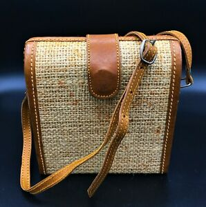 Cute-Little-Burlap-Leather-Trim-Cross-Body-Box-Purse-Handbag-6-x-6-x-3