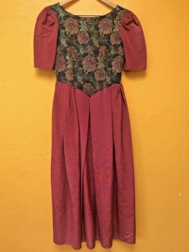 VTG 80s Handmade Modest Floral Tapestry Bodice Sat
