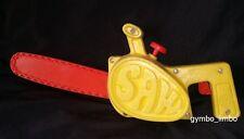 Mattel 1972 Yellow Pull String Vibrating CHAINSAW Vintage Tuff Stuff Working Toy