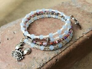 Womens-handmade-memory-wire-ocean-love-bracelet-with-white-plums-charcoal