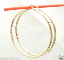 "1 3/4"" Large Diamond Cut Hoop Earrings REAL 10K Yellow Gold 2mm FREE SHIPPING"