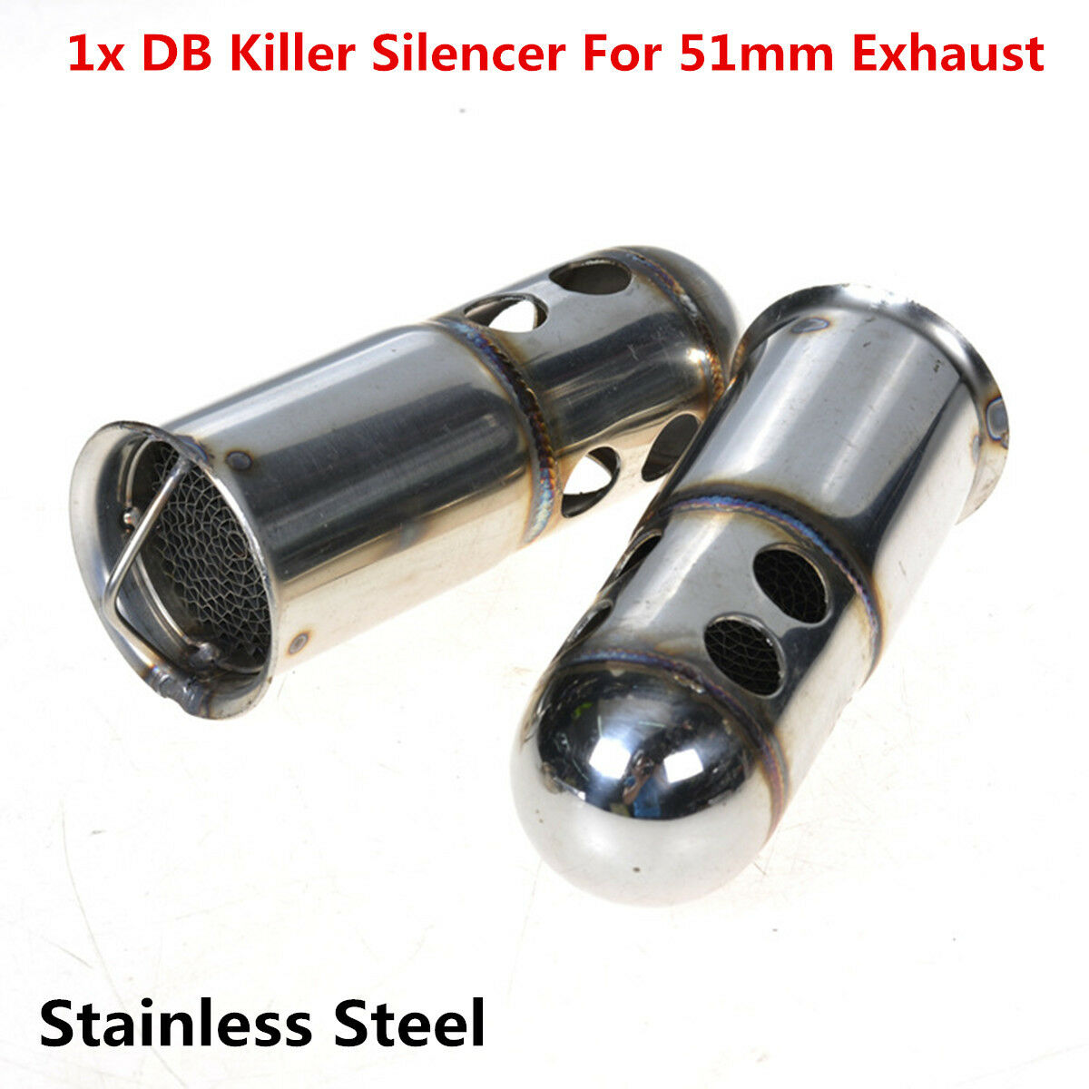 GP Blue Qiilu 1.5-2 Inlet Stainelss Steel Exhaust Muffler Slip on with Moveable DB Killer Dirt Bike Street Bike Scooter ATV Racing