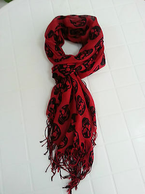 ALL SEASON LIGHT WEIGHTS SCARF/SHAWL Skull Pattern Color Red