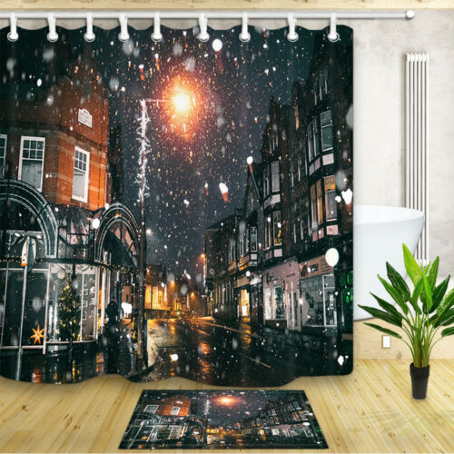 Street Light and Snowflakes Shower Curtain Bathroom Decor Fabric 12hooks 71x71in
