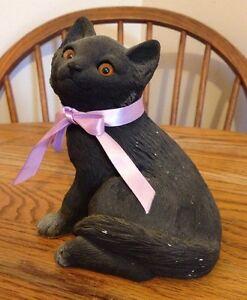 Vintage Sandicast Black Sit Kitten #218 Cat 1984 Signed Hand Painted Casted Cali