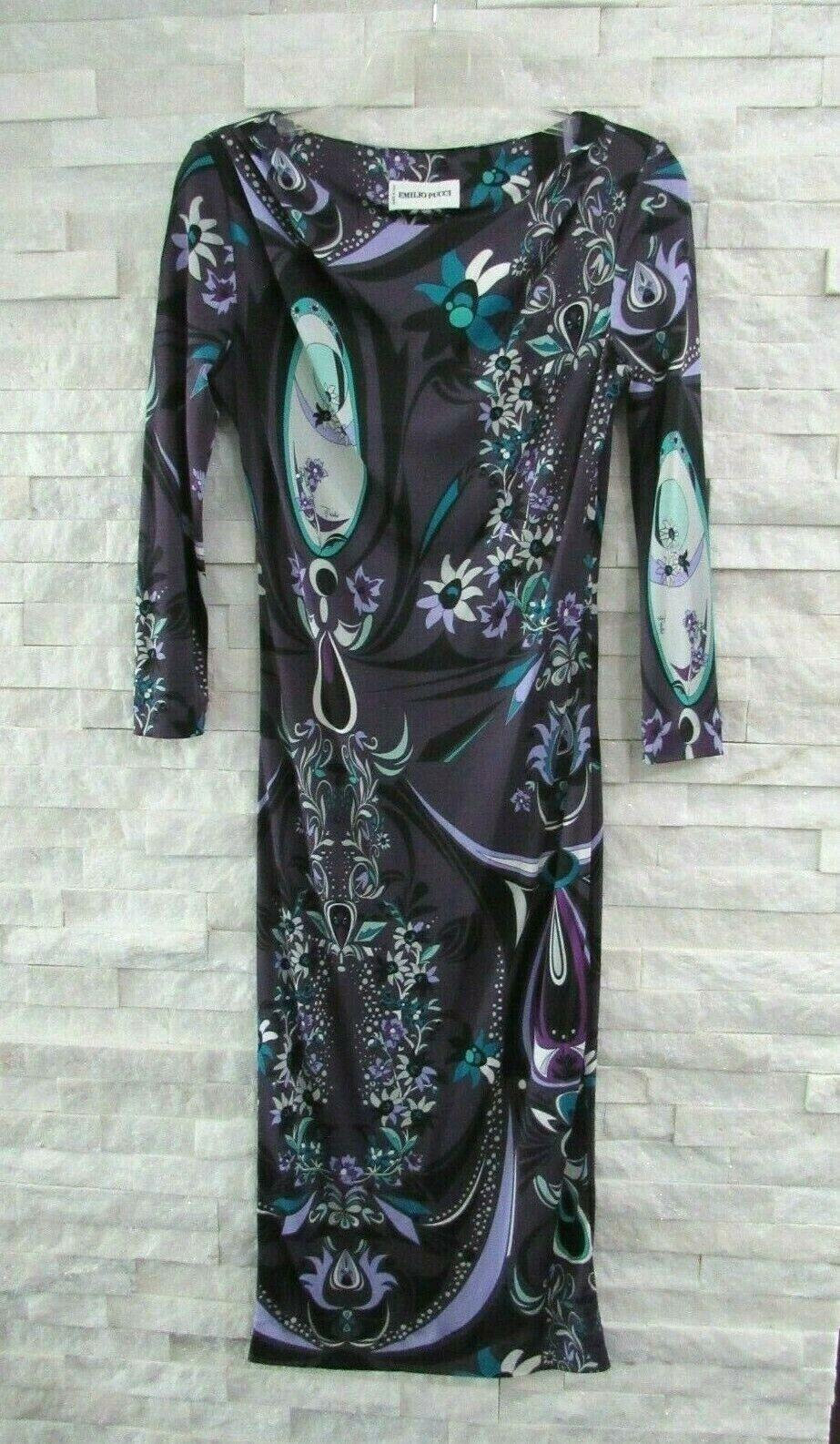 Emilio Pucci Deep  púrpura Floral Vestido Tubo de estiramiento jersey icónico logotipo US 6  disfrutando de sus compras