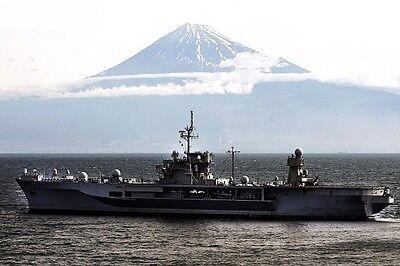 USN Navy Ship Sails past Mount Fuji Photo Canvas Print CV 63 USS KITTY HAWK