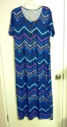 Plus Size Blue with Print 2X Bobbie Brooks Full Length Dress with Necklace