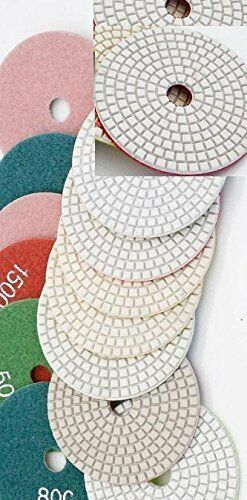 6 Inch Diamond Polishing Pads 9 Piece Set WET//DRY Granite Concrete Stone Marble