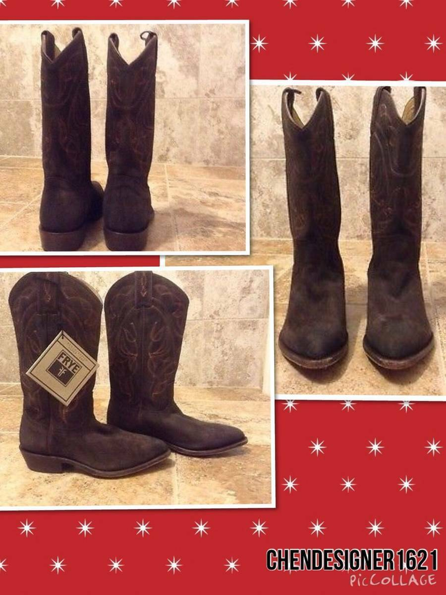 FRYE size 7M   Billy PULL ON COWGIRL BOOTS Distress Suede LEATHER MSRP  278 new