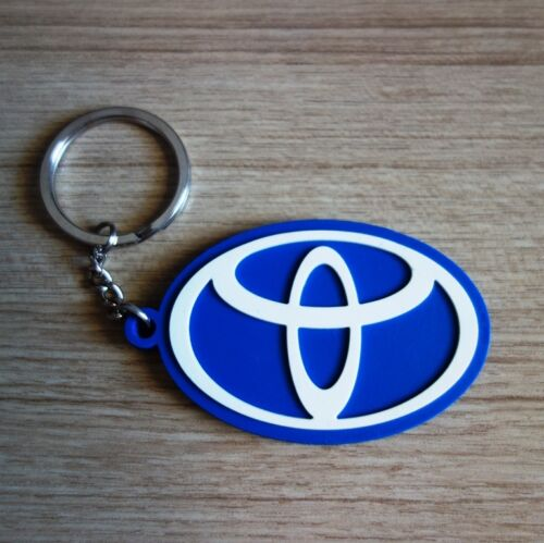 New-TOYOTA-Logo-Keychain-Key-ring-Blue-White-Rubber-Collectible-Modern-Car-Gift