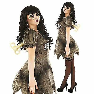 Womens Halloween Creepy Wind Up Doll Steampunk Fancy Dress Costume Outfit & Key