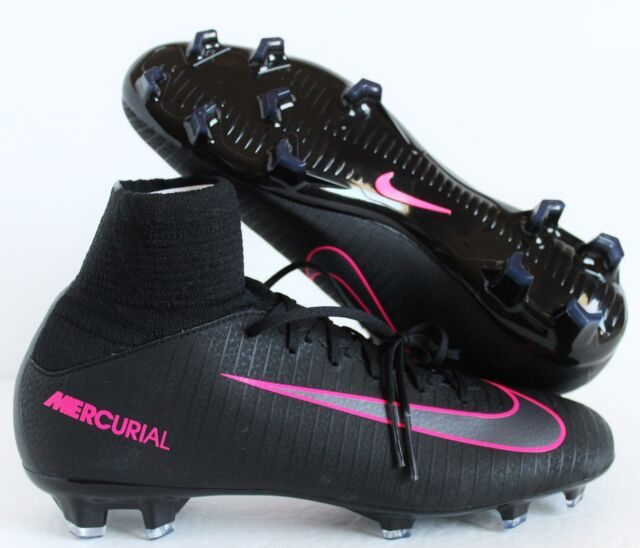 Nike Jr. Mercurial Superfly V FG Soccer Cleats Size 4y Black Pink 831943 006