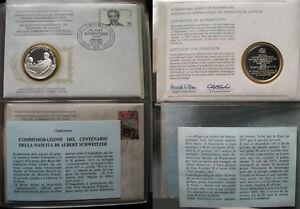 Albert-Schweitzer-1975-BOLLO-MONETA-ARGENTO-FDC-STERLING-SILVER-Commemorativa