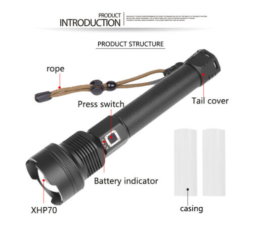 Ultra Bright 990000LM 18650 XHP70.2 LED Flashlight USB Rechargeable Zoom Torch