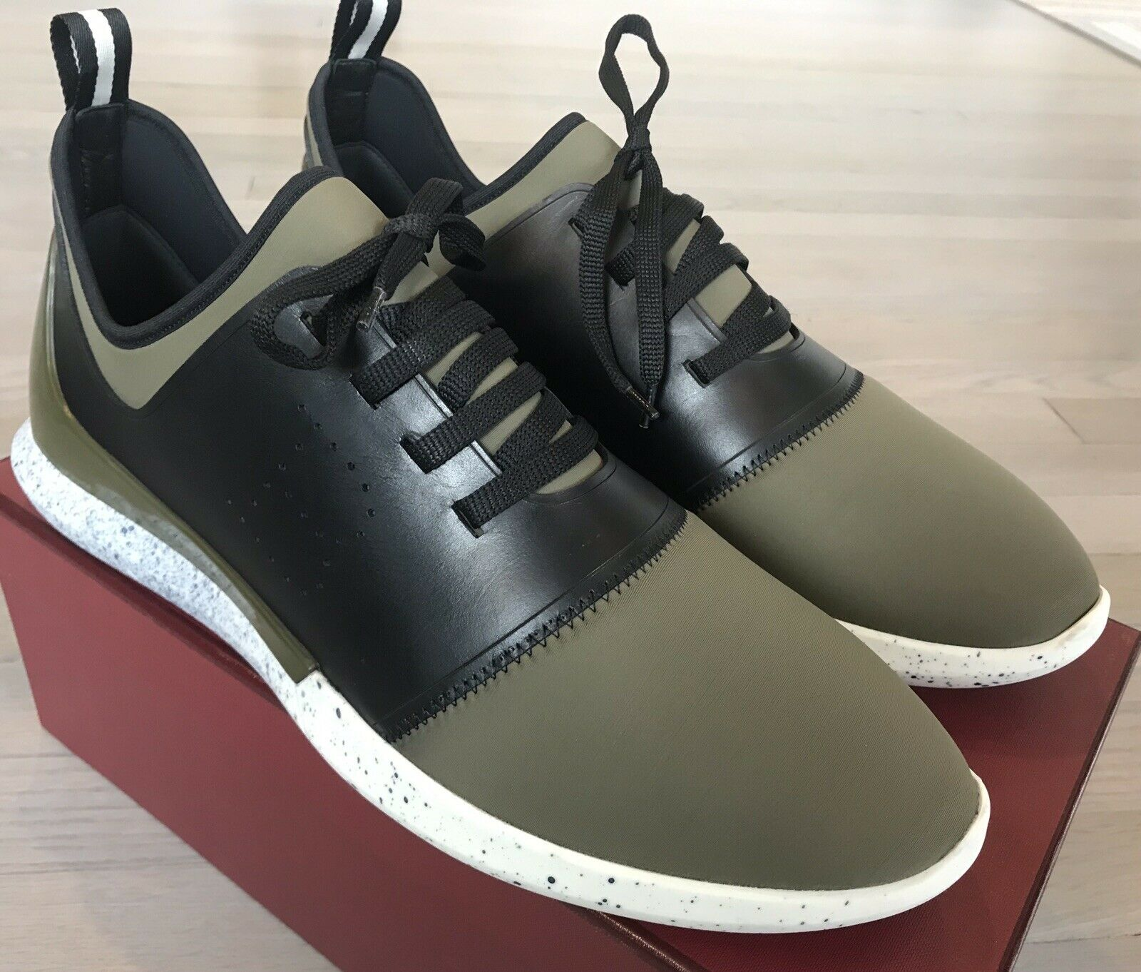 580  Bally Avro 31 Leather and Neoprene Sneakers size US 11 Made In