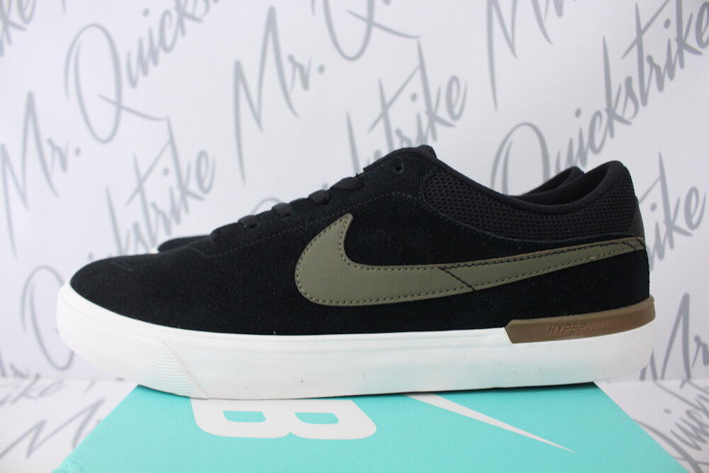 NIKE SB KOSTON HYPERVULC SZ 8.5 noir GUN BROWN blanc MEDIUM OLIVE 844447 004