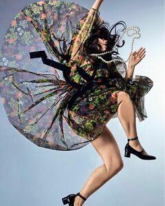 Molly Goddard NEW Floral Print Black Mesh Midi Dress UK 8 Semi Sheer Alberta