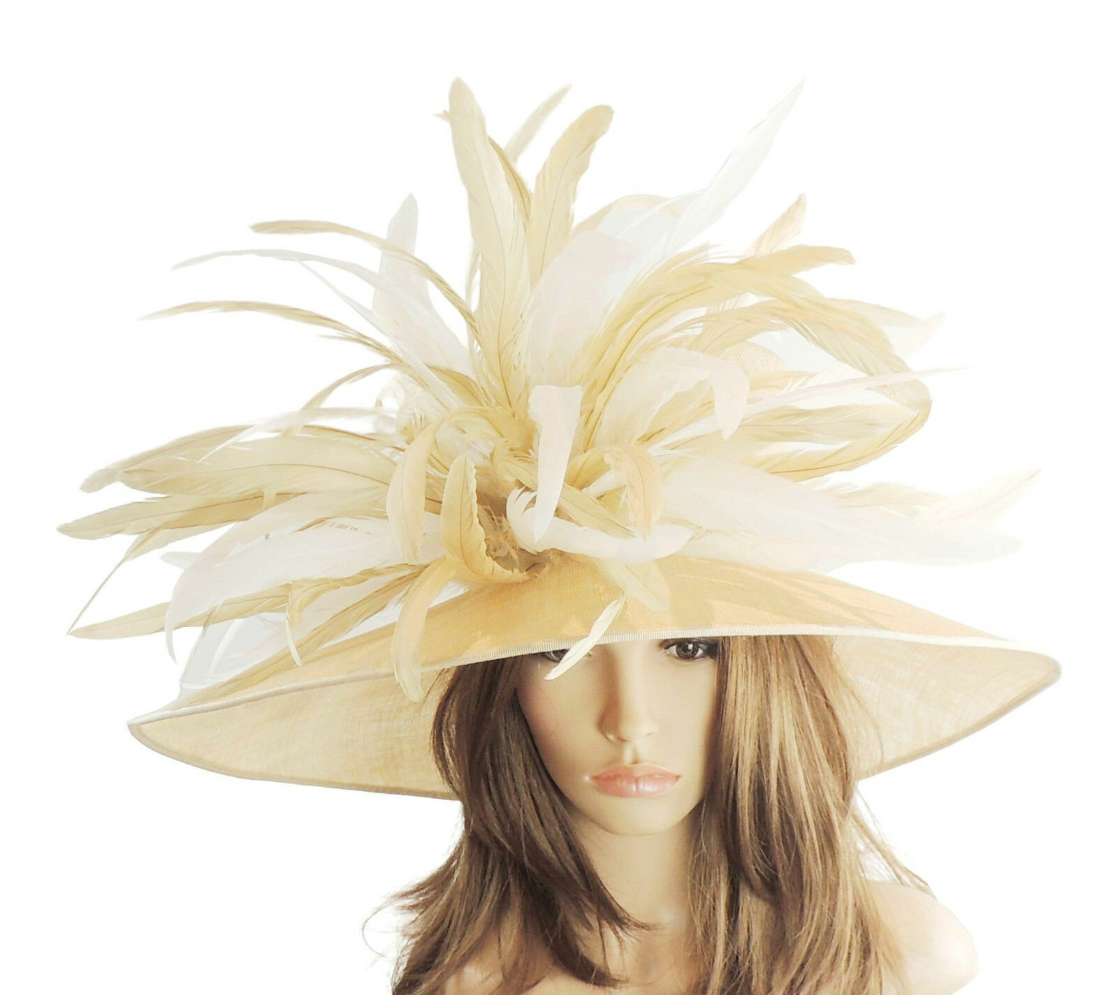 Mink Beige & Cream Large Ascot Hat for Weddings, Ascot, Melbourne Cup HW2