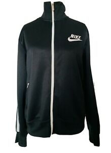 Nike-Unisex-Black-Zip-Up-Jacket-White-Stripe-Pockets-Silky-High-Neck-Size-L