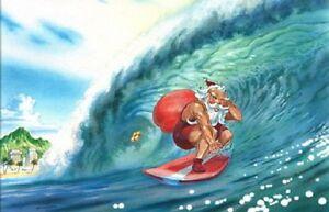 20 merry christmas cards santa surfing usa california huntington