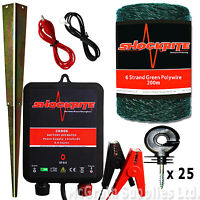 Electric Fence Energiser Srb06 Kit, 200m Green Polywire, 25 Short Insulators