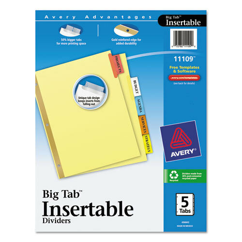 5-Tab Multicolor Tabs AVE11109 Avery Worksaver Big Tab Reinforced Dividers