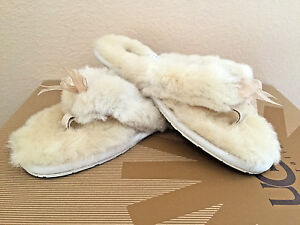 Image is loading UGG-FLUFF-FLIP-FLOP-II-NATURAL-MOCASSIN-THONG-