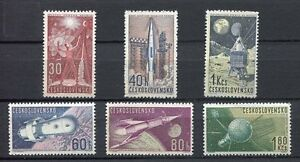 37013-CZECHOSLOVAKIA-1962-MNH-Space-research-6v