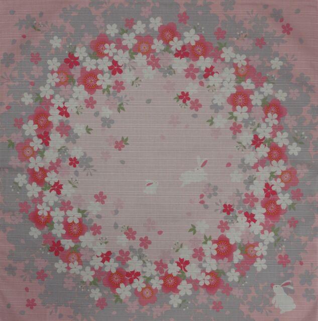 Furoshiki Japanese Fabric Cloth 'Pink Rabbits and Sakura Circles' Cotton 50cm