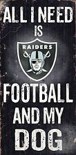 "OAKLAND RAIDERS FOOTBALL and my DOG WOOD SIGN and ROPE 12"" X 6""  NFL MAN CAVE!"