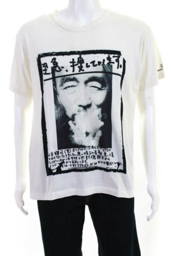 Yohji Yamamoto Mens Cotton Smoking Print Short Sle