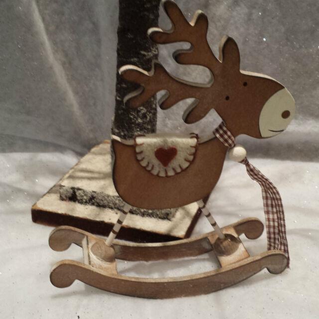 Vintage Chic Rocking Reindeer Christmas Ornament Shabby Decoration Heaven Sends