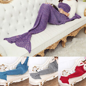 Queue-Sirene-Tricot-Crochet-Snuggle-Couverture-Cocon-Tapis-Couchage-Blanket-Neuf