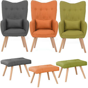 Image Is Loading Modern Occasional Chair Button Linen Fabric Accent Chair