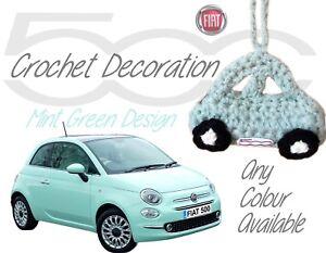 Fiat Decoración Ver A Accesorios De 500 Ganchillo Original Diseño Menta Mano Coche Verde Colgante Hecho Título Detalles n0Pk8wO